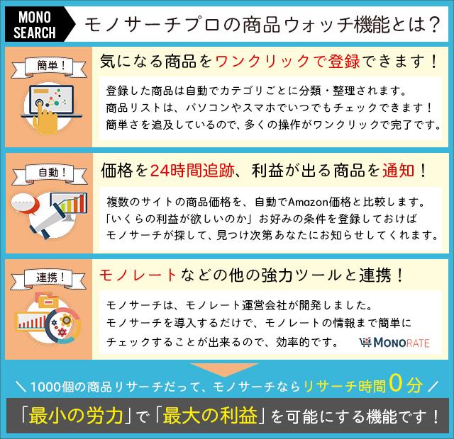 モノサーチの商品ウッチ機能